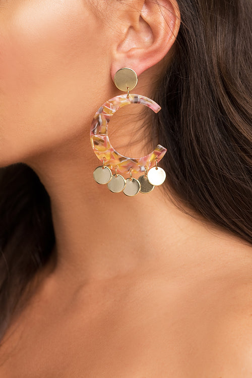 Marbled Cut-Out Earrings - Pink