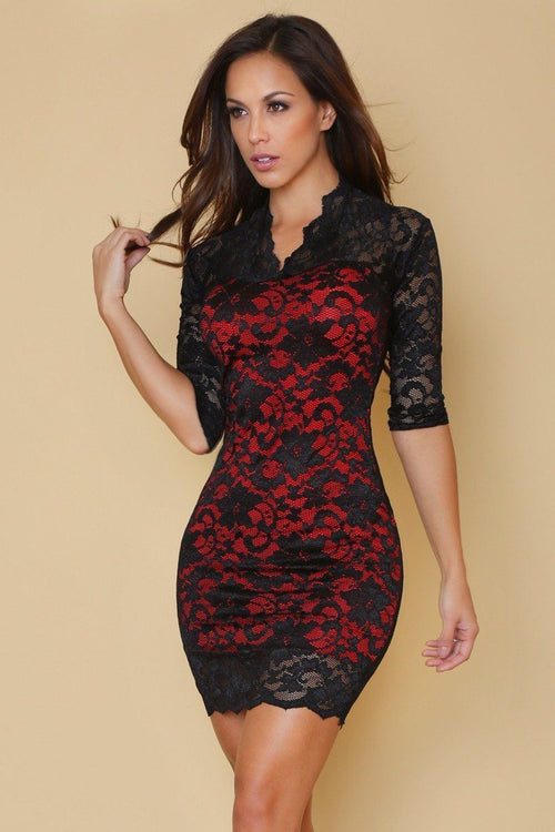 In Love with Lace Neck Dress Red/Black - Fashion Effect Store  - 1