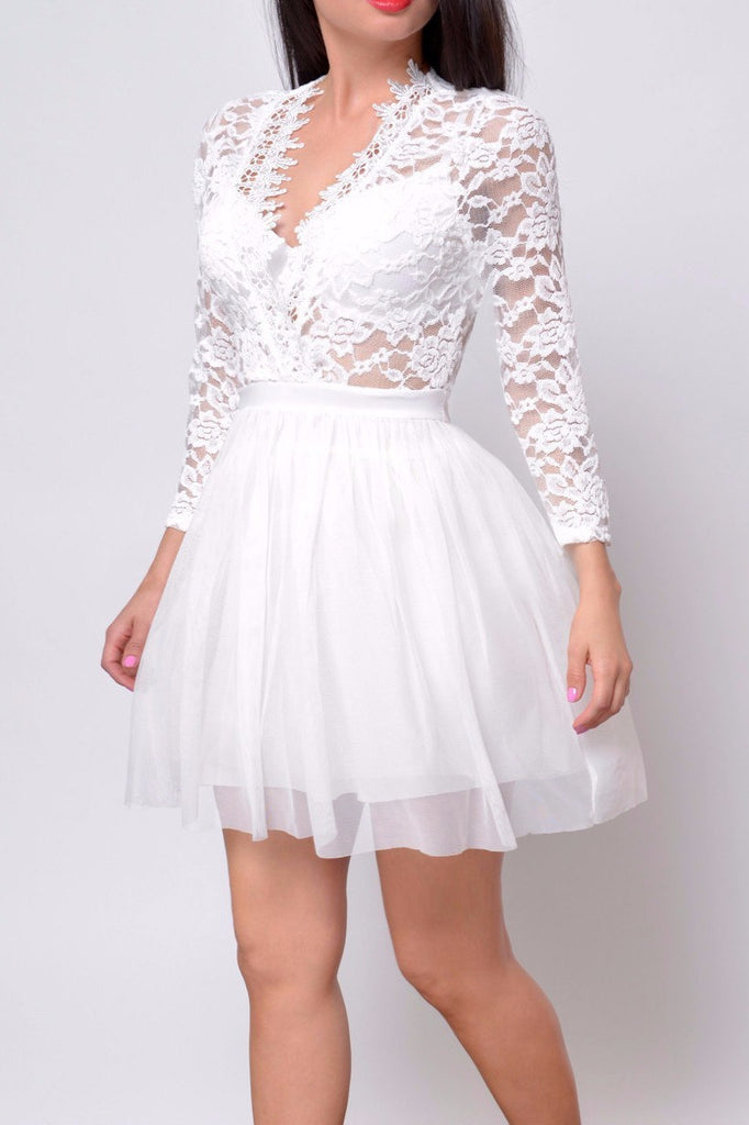 Audrey Lace Dress White - Fashion Effect Store  - 1