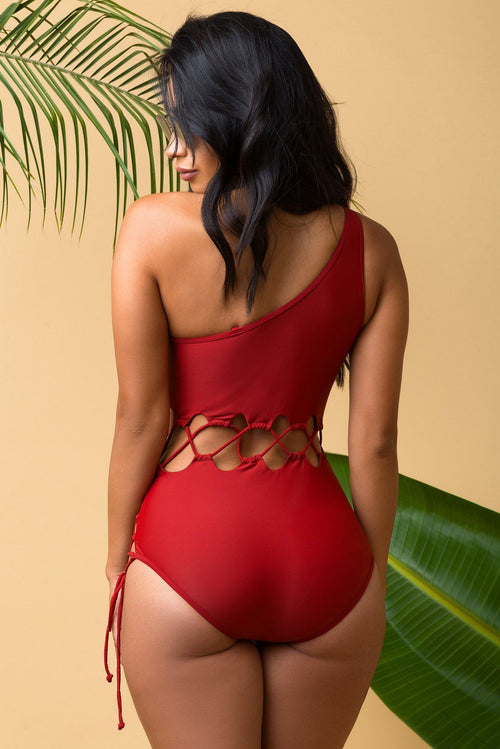 Bottom Bay One Piece Red Swimsuit