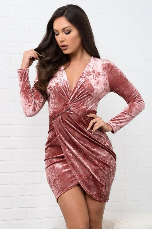 Zoe Velvet Dress - Dusty Rose