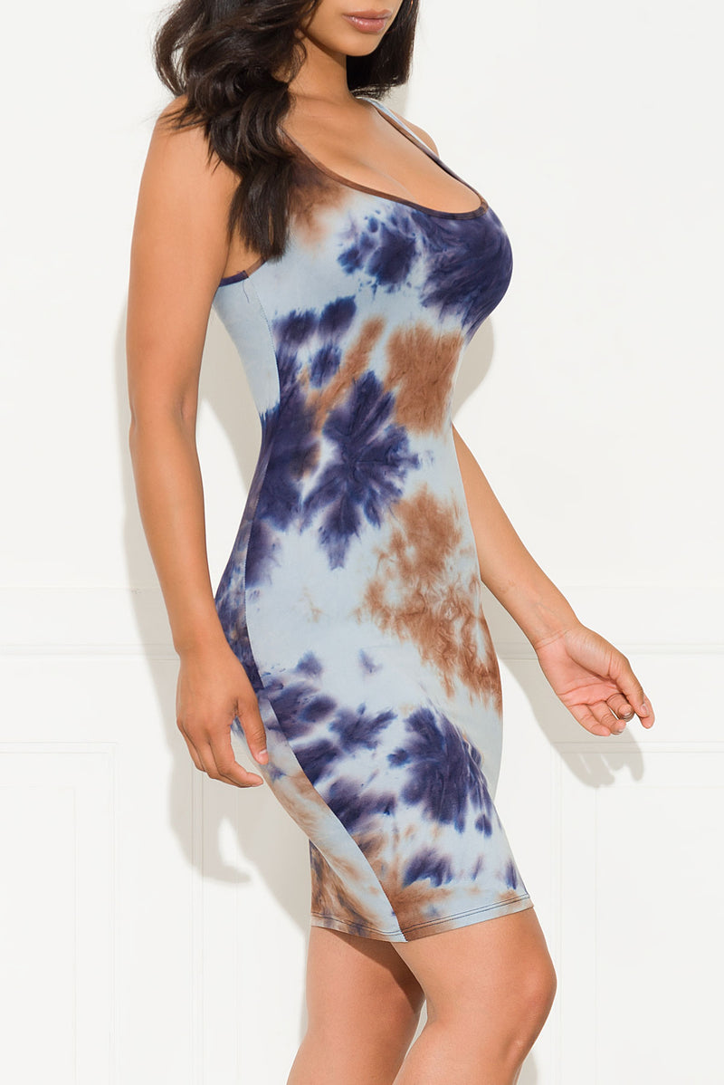 Stay Or Leave Tie Dye Dress Blue/Purple
