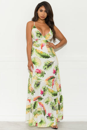 Floral Breeze Maxi Dress - White