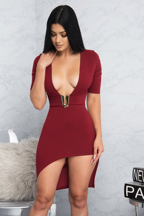 Kendall Mini Dress - Burgundy