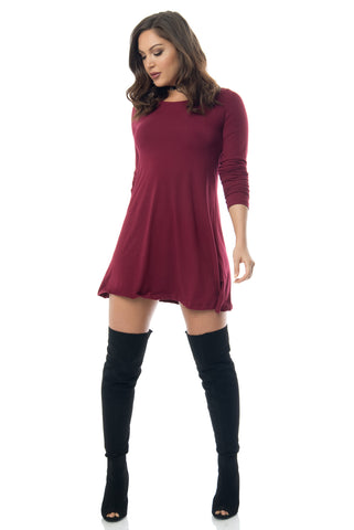 Denisse Burgundy Dress - Fashion Effect Store  - 1