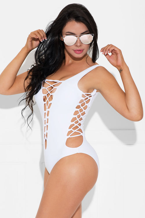 Blown Away One Piece Swimsuit White