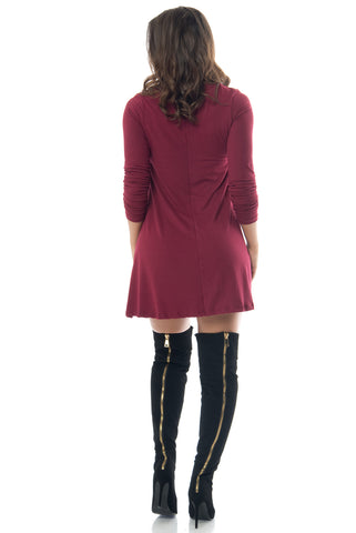 Denisse Burgundy Dress - Fashion Effect Store  - 2
