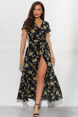 Bianca Floral Dress  Black
