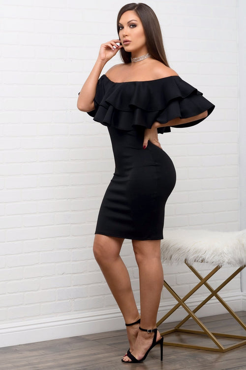 Shirley Black Off Shoulder Dress