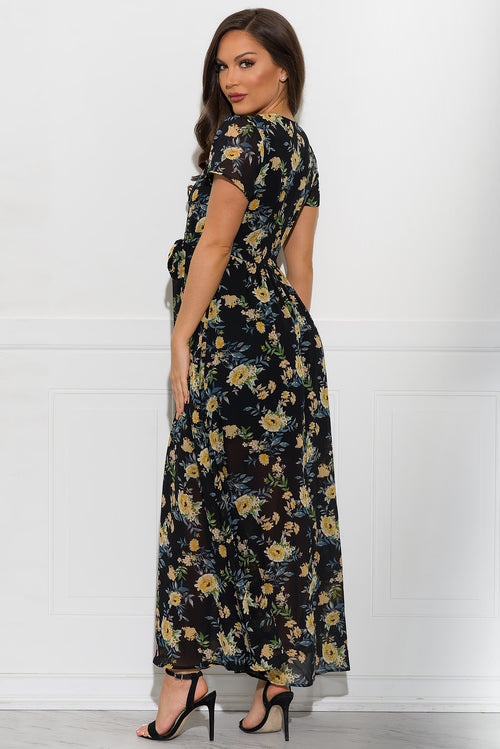 Bianca Floral Dress - Black
