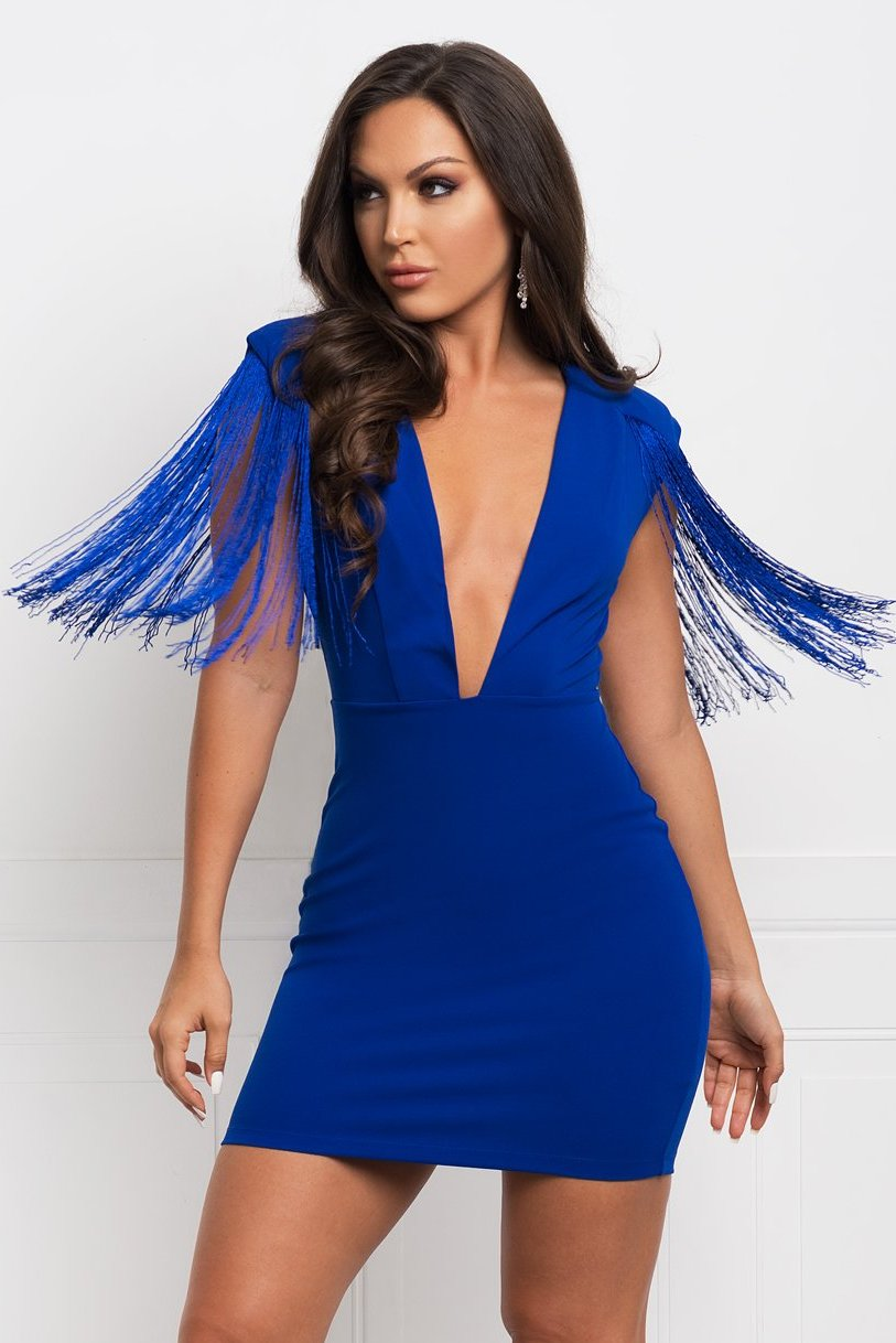 Jorja Fringe Dress Royal Blue