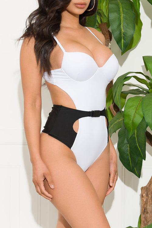 Antara Beach One Piece Swimsuit Black White