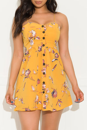 Doing The Must Floral Dress Mustard