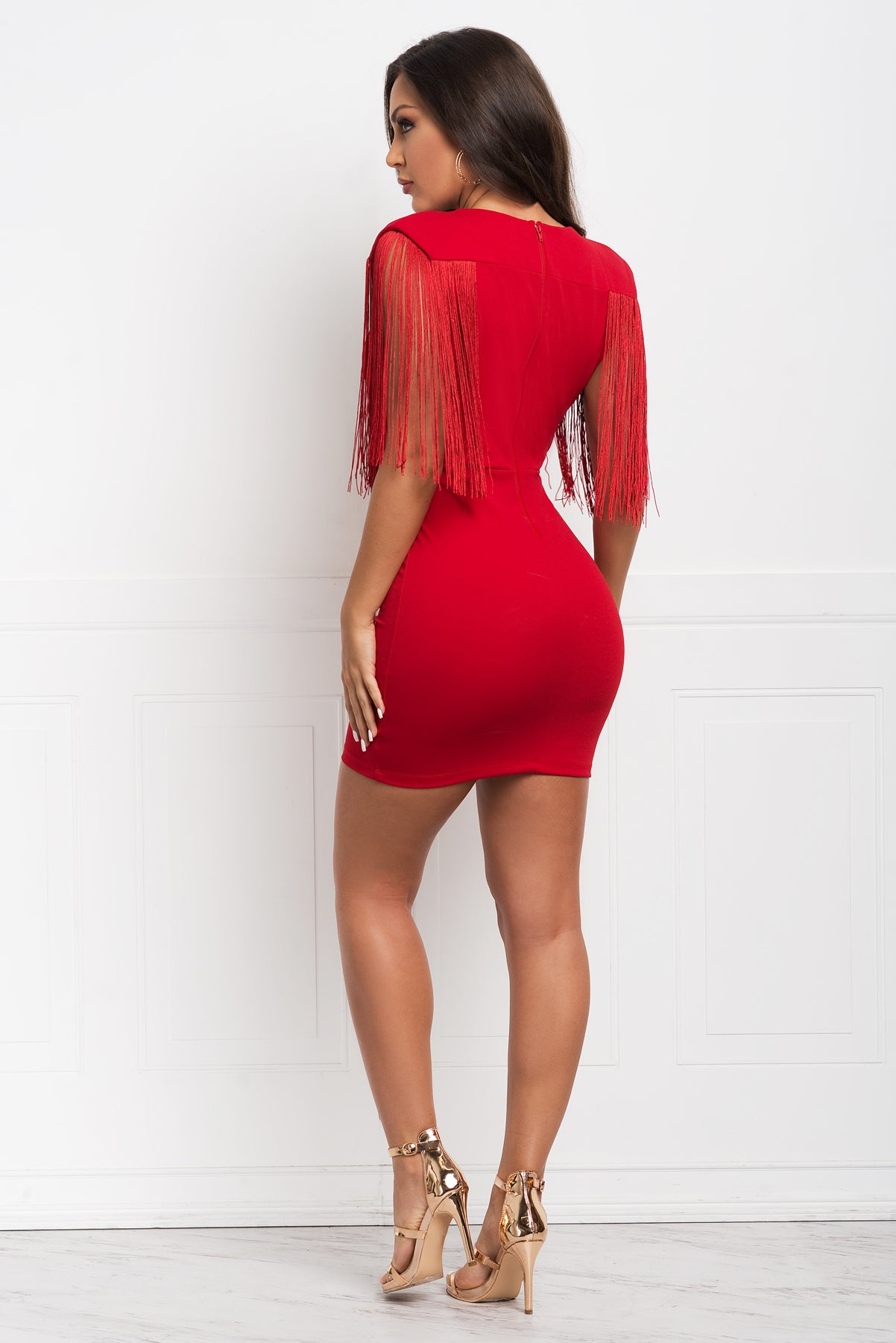 Jorja Fringe Dress- Red