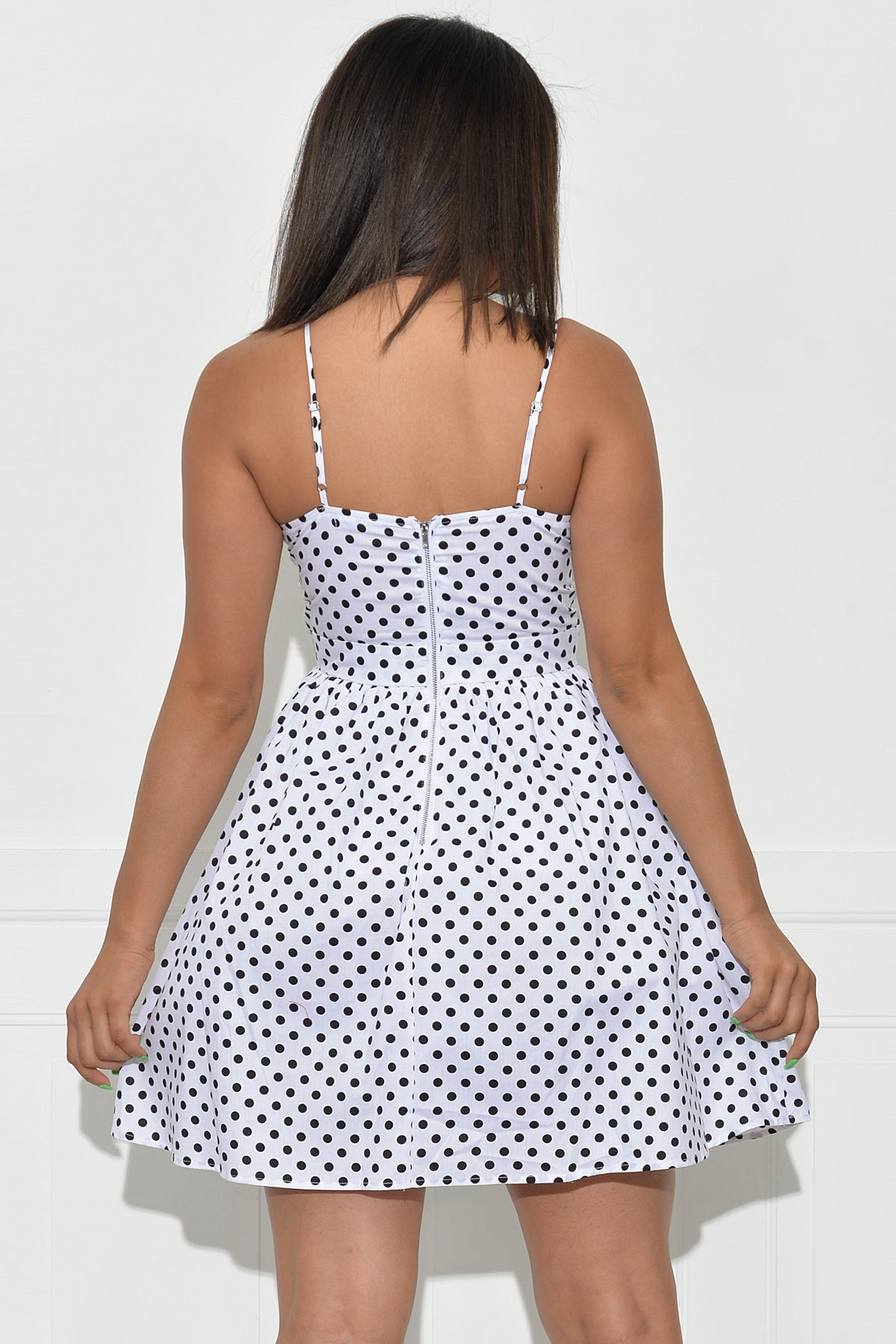 Karly Polka Dot Dress - White