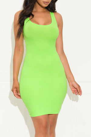 Day After Day Dress Neon Green