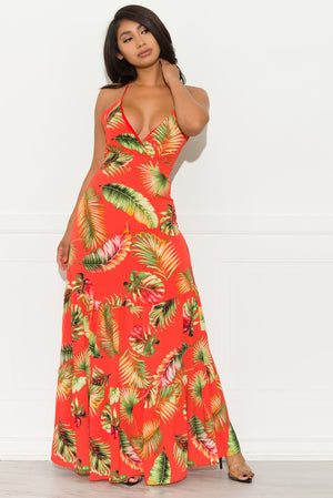 Floral Breeze Maxi Dress - Orange