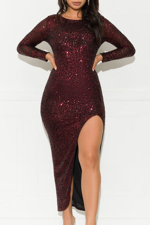 For The Right Reasons Sequin Gown Dress Red