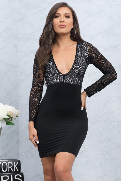 Mallory Lace Dress - Black