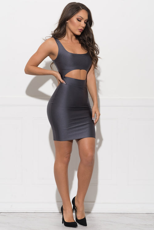 Xena Metallic Dress - Grey
