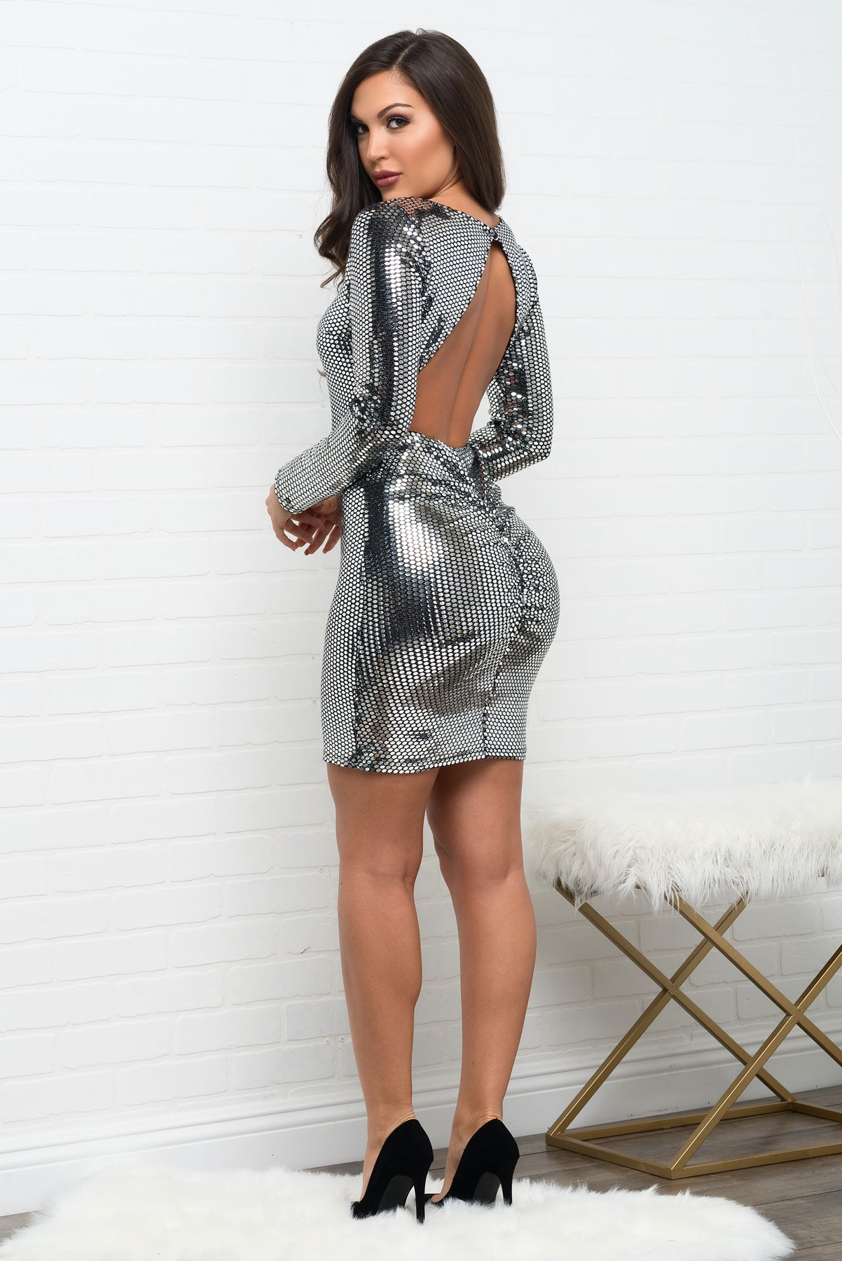 Pyper Sequin Dress - Silver