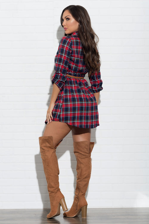 Nicole Plaid Dress -  Red & Navy