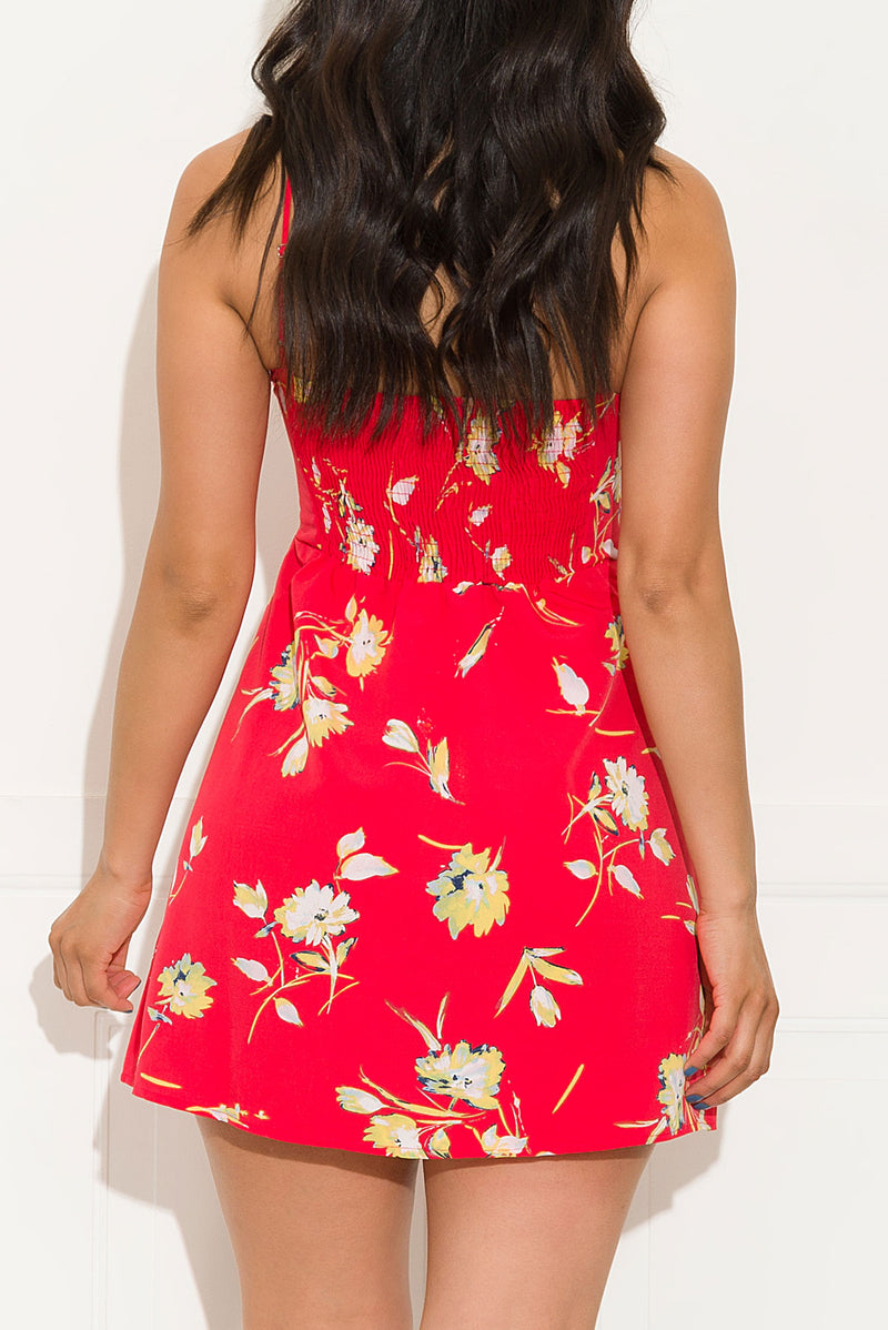 Doing The Must Floral Dress Red