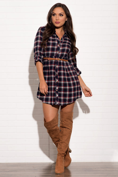 NICOLE PLAID DRESS - Navy & Red
