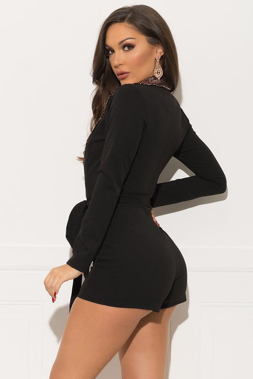 Milena Romper - Black & Rose Gold