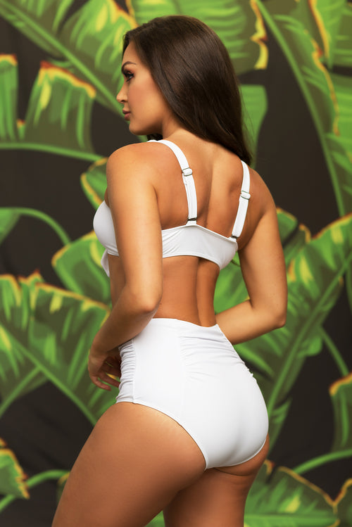 San Clemente Beach  Two Piece Swimsuit - White