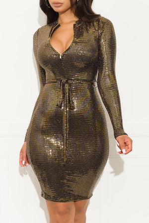 Be Yourself Sequin Dress Gold