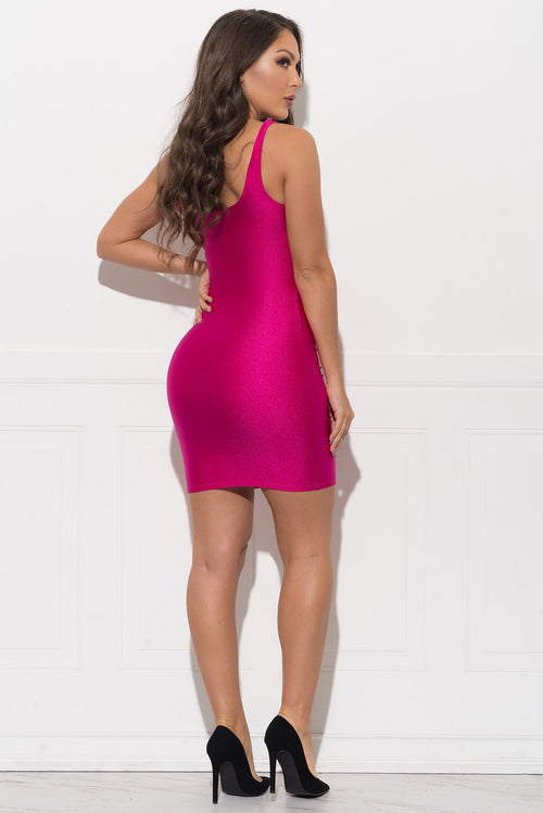 Xena Metallic Dress - Hot Pink