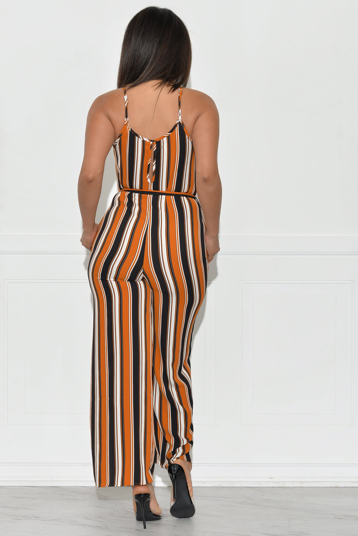 Nyla Striped Jumpsuit - Mustard/Black/Cream