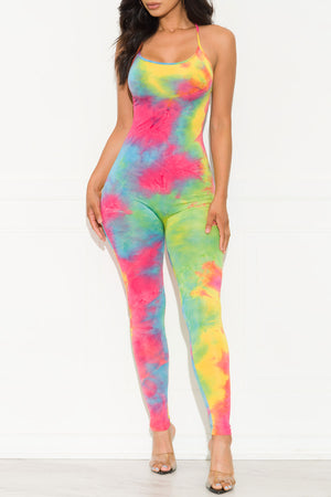 Move Over Jumpsuit Tie Dye Pink/Yellow