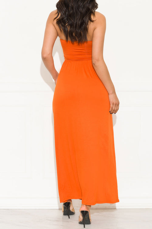 Here To Stay Maxi Dress Orange Rust