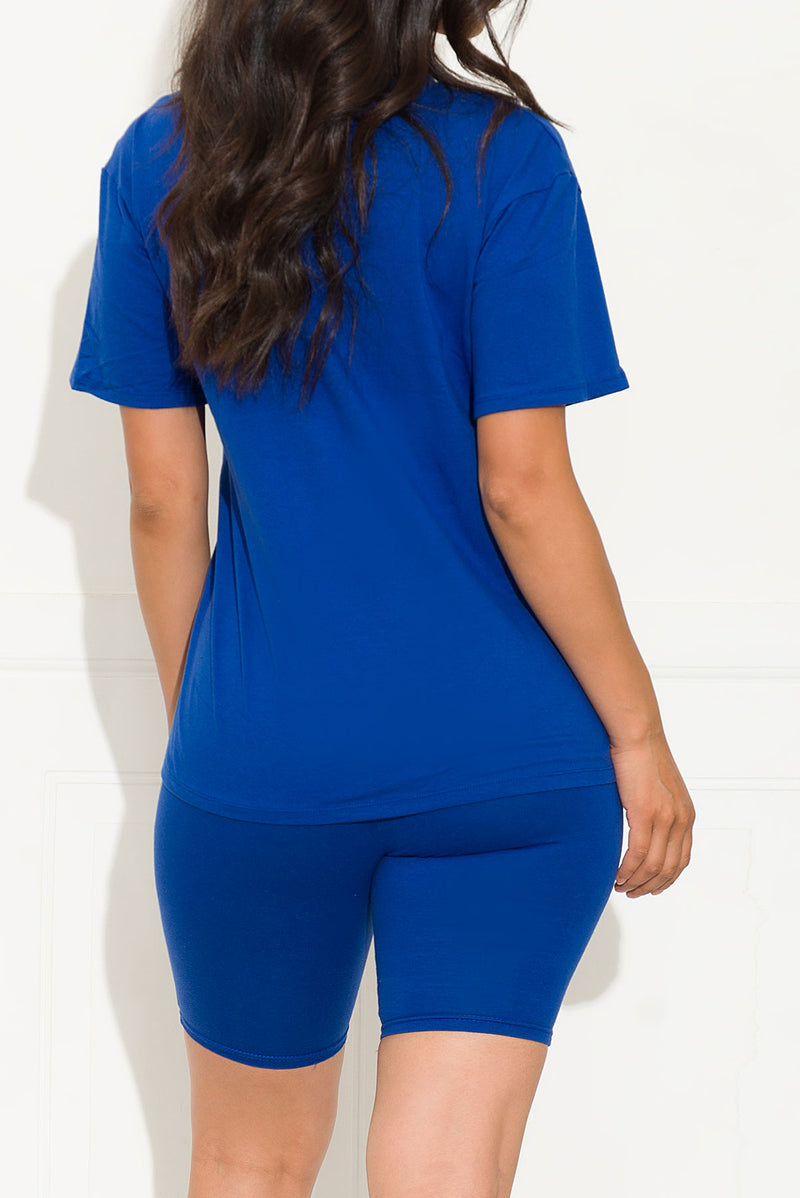 Chill Out Set Round Neck Royal Blue