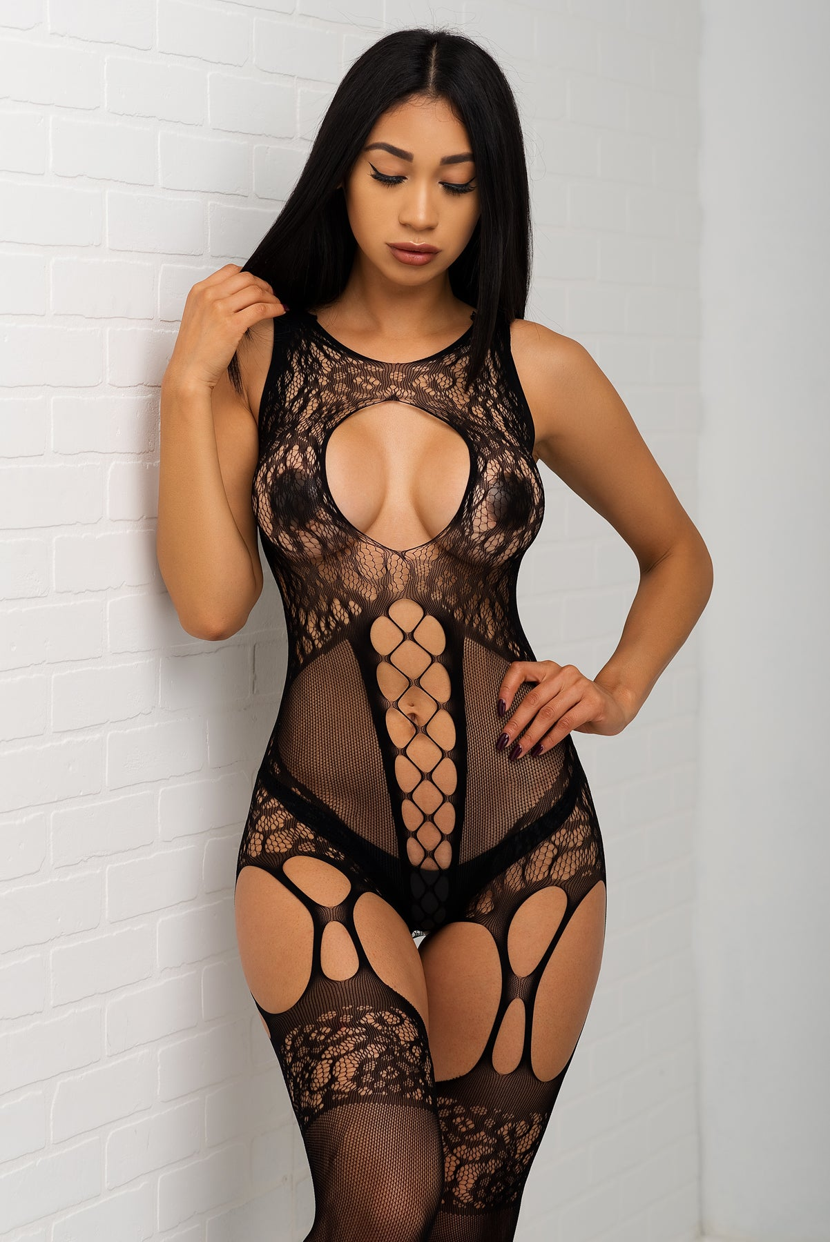 Brandy  Fishnet Teddy