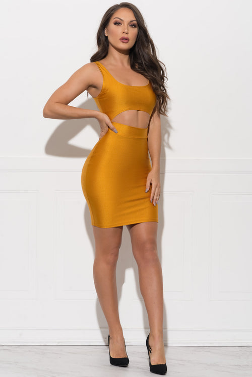 Xena Metallic Dress - Mustard