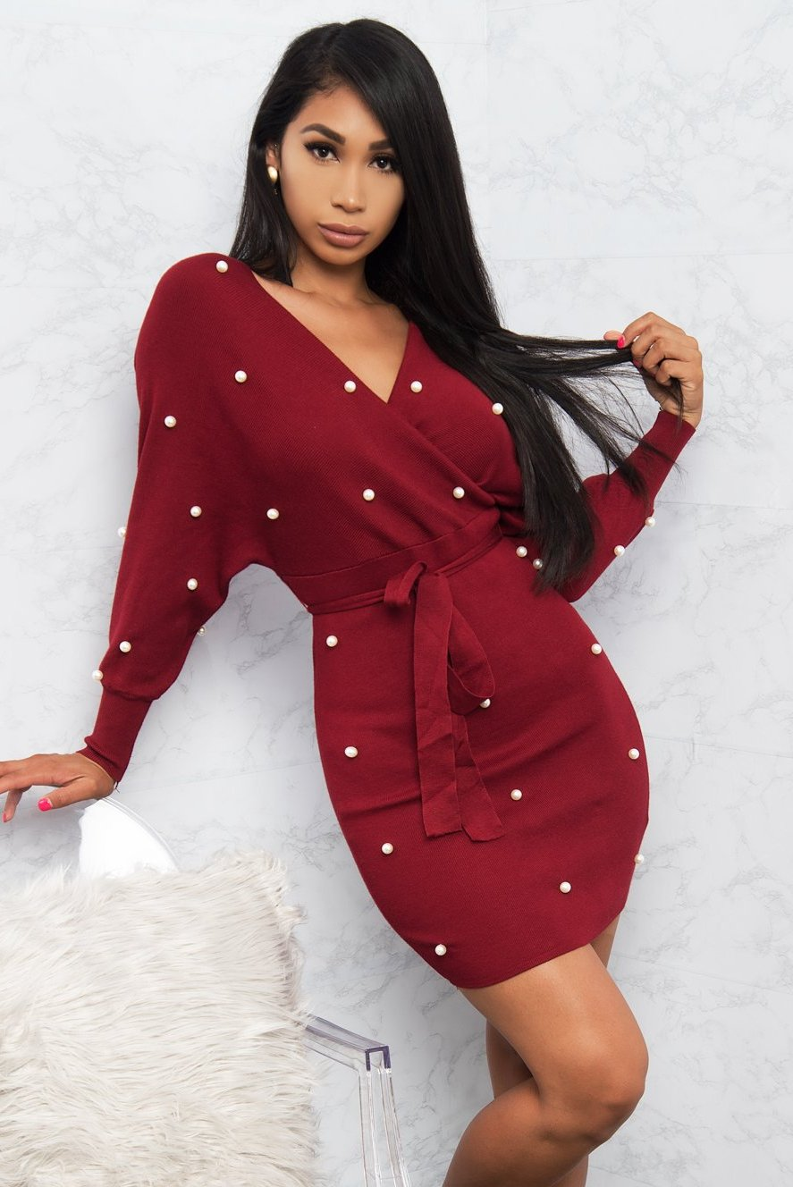 Vivica Faux Wrap Tie Up Dress - Burgundy