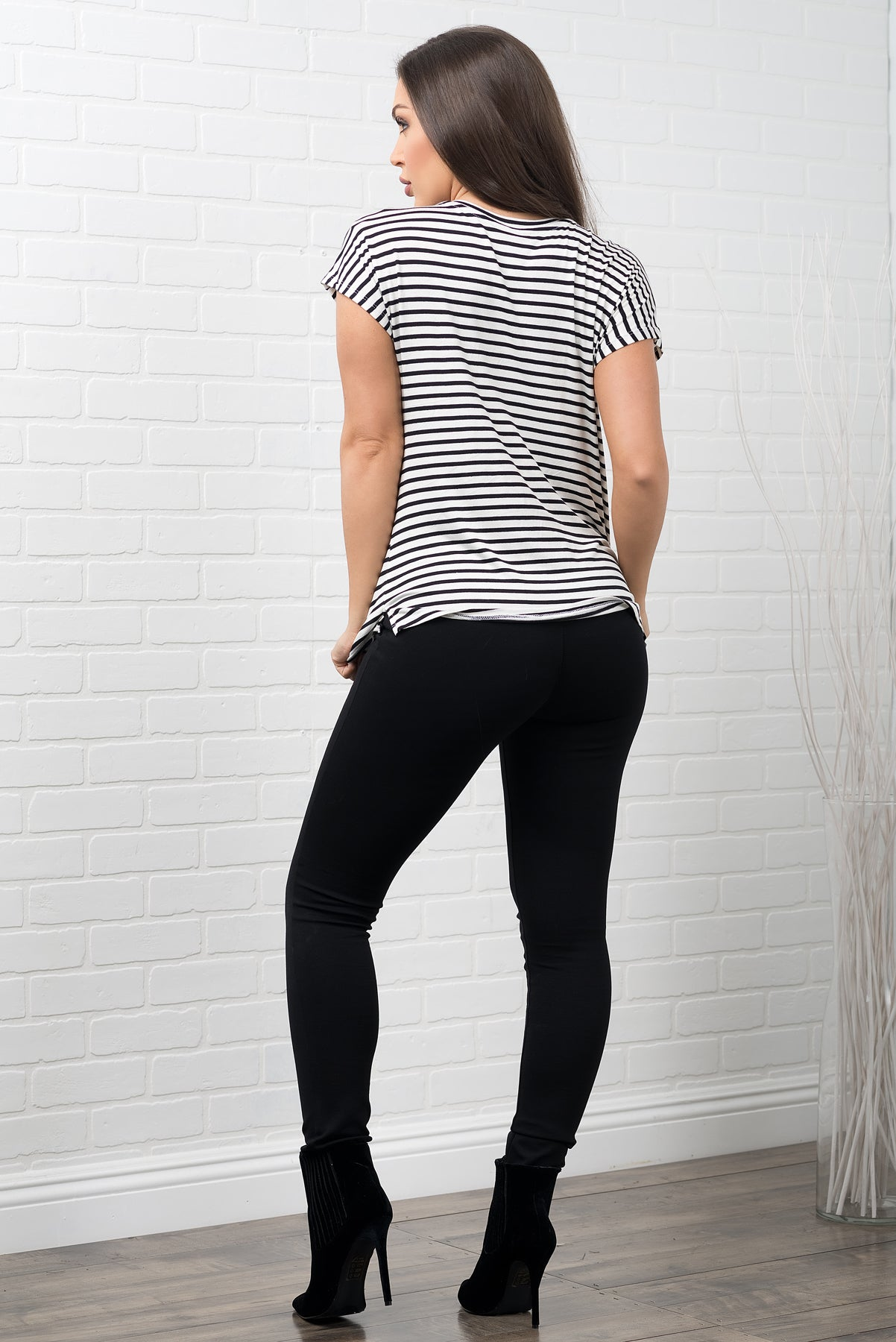 Valentina Striped Top Black & White