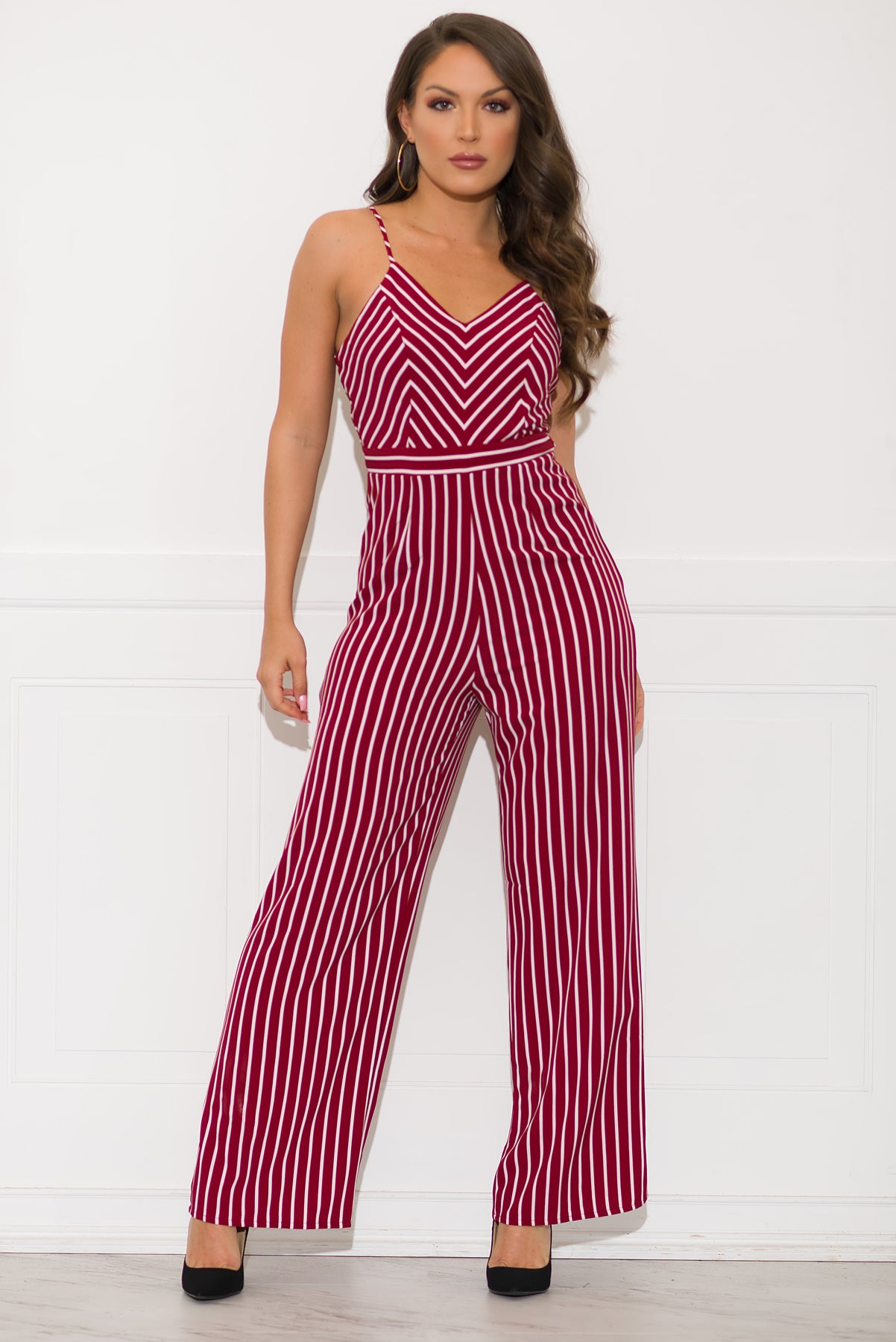 Tay Striped Jumpsuit-Red