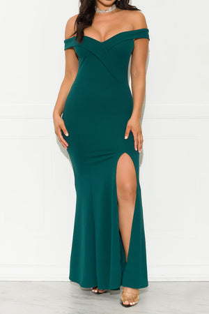 Not Chasing You Maxi Gown Dress Hunter Green