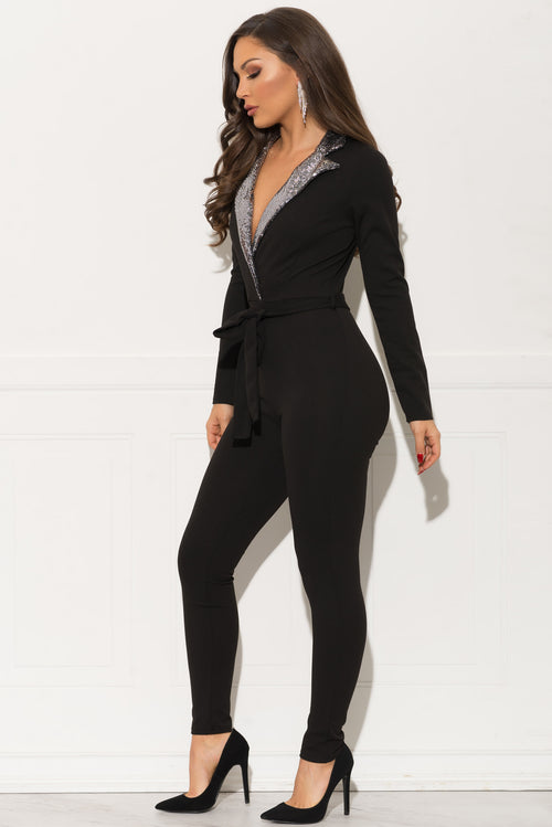 Meadow Sequin Jumpsuit - Black & Silver