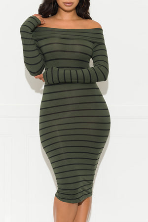 Starting Over Striped Dress Olive