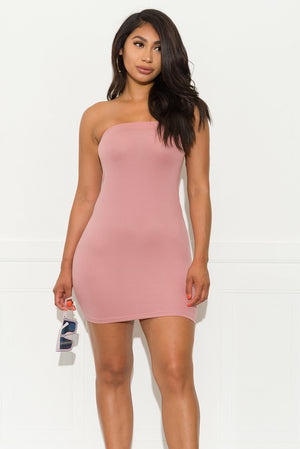Greatest Ever Strapless Dress- Dusty Pink