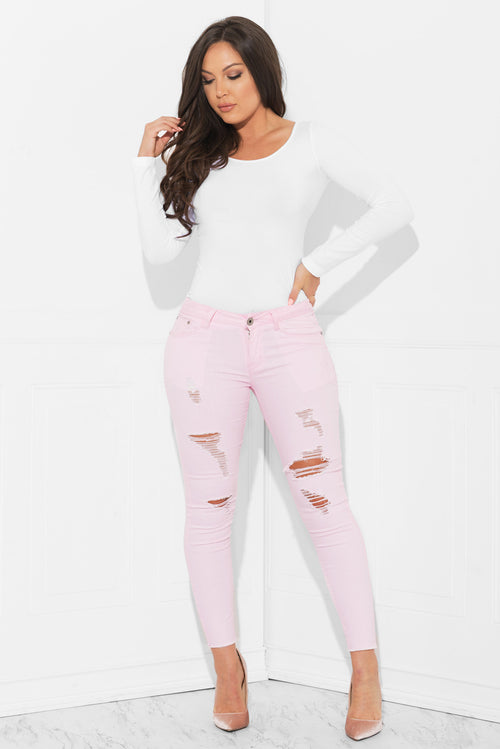 Rose Up Distressed Jeans