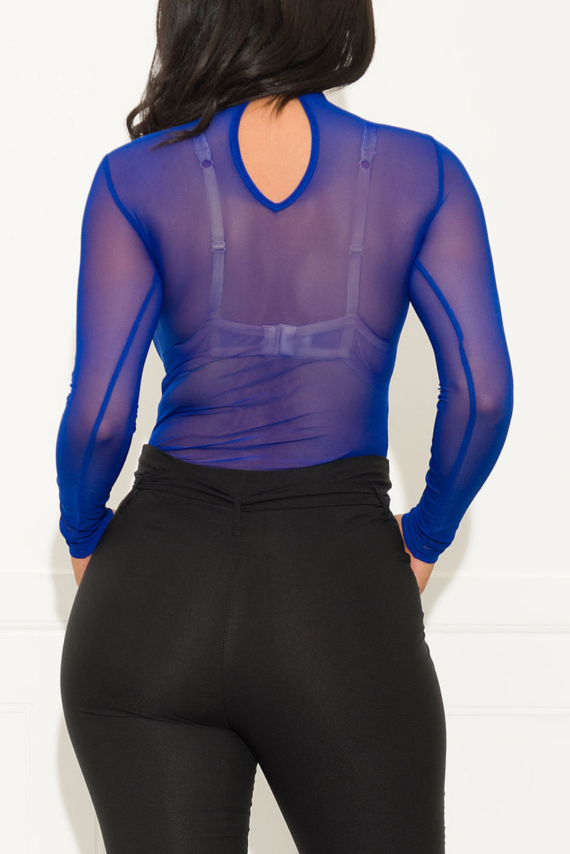Stay Here With Me Mesh Bodysuit Royal Blue