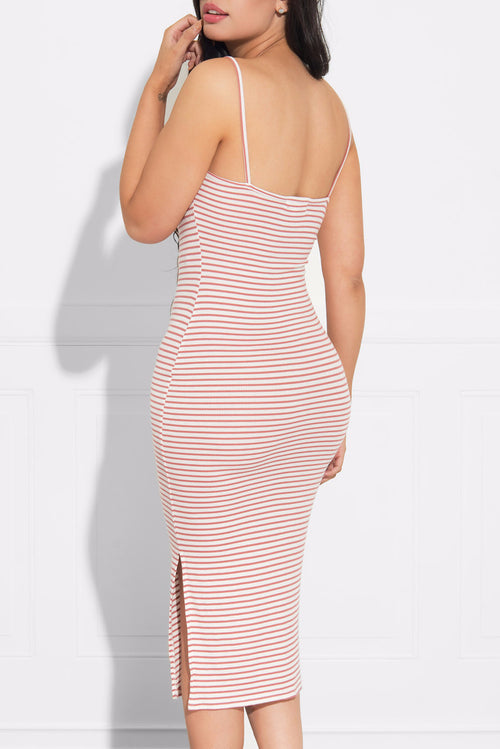 Karla Pink and White Striped Dress