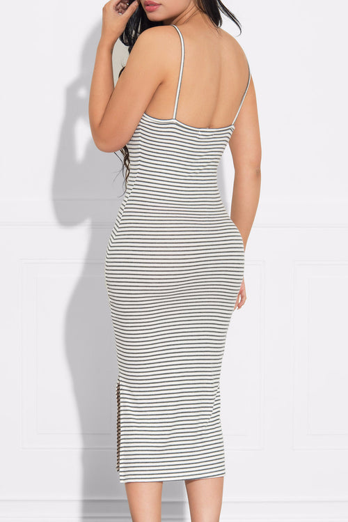 Karla Gray and White Striped Dress