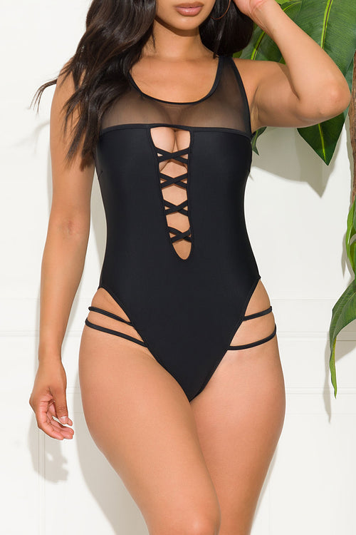 I Woke Up Like This Black One Piece Swimsuit